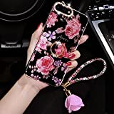 iPhone 8 Plus Hülle,iPhone 7 Plus Hülle,Bling Glitzer Strass Diamant Rose Blumen Muster mit Ring Ständer Rose Anhänger TPU Silikon Handy Hülle Tasche Schutzhülle für iPhone 8 Plus / 7 Plus,Blumen #1