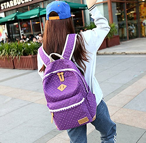 WKBY 3pcs/Set Student Backpack Womens Girls Kids Canvas Bags Dot Shoulder Bags Travel School bags Rucksack With Fancy Lace(Purple) Color 7