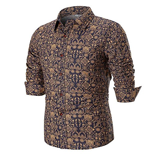 Camicia floreale hawaiana uomo maniche lunghe landfox slim fit camicetta superiore della camicia stampata retro maniche lunghe slim casual da uomo camicia miscela di cotone casual