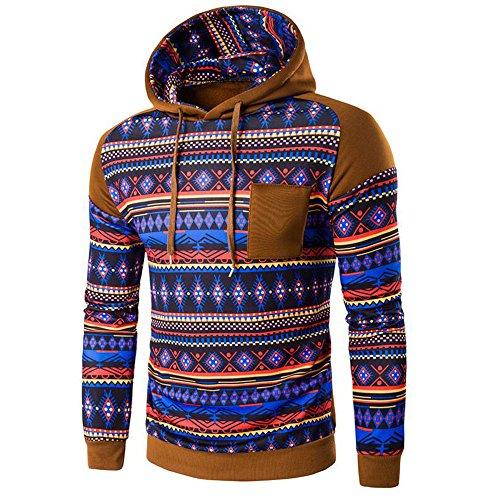 Tonsee Hommes Retro Sweatshirt à capuche Bohemian Sweat à capuche Hauts Manteau Outwear Kaki