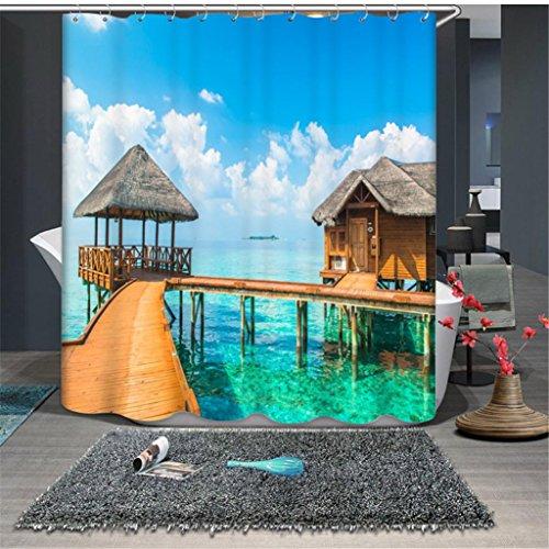 Poliéster 3D Espacio visual Cenador de playa Impresión Impermeable Mildew Resistente a la decoración del hogar Embellece el baño Privacidad de oclusión Cortina de ducha , 150*180cm