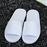 Brand New 10 Pairs White Towelling Hotel Slippers Open Toe Disposable Party Guest Shoes