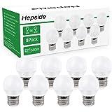 [Lot de 8]Ampoule LED E27 Globe G45 Culot (Grosse Vis),Hepside E27 Led Blanc Chaud 3000k,6W (équivalent Ampoule Halogène 60),