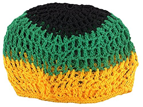 ALANNAHS ACCESSORIES Beanie Rasta Jamaica Crochet Knitted Hair Net Sombrero
