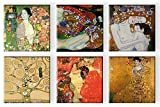 Time4art Gustav Klimt Print Canvas 6 Bild 6 x 30x30cm Baum des lebens Adele Tree of Life Freundinnen Mutter und Kind Wasserschlangen Tänzerin auf Keilrahmen Leinwand
