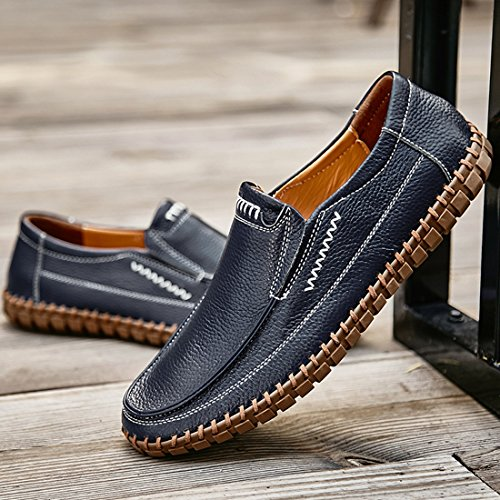 Minitoo Boys Mens Stitched Fashon Penny Loafers Dark Blue