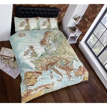 Ben de lisi home multicoloured printed world explorer bedding vintage maps panel duvet cover quilt bedding set king size world map in blue green brown white gumiabroncs Images