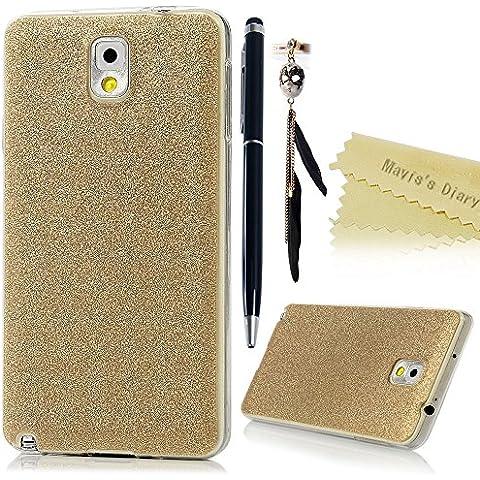Samsung Galaxy Note 3 Funda Bling Rhinestone Gel TPU Transparente Case Suave - Mavis's Diary Diamantes Funda para móvil Carcasa Resistente a los Arañazos Color de Oro