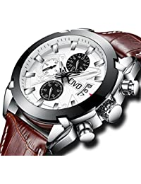 CIVO Mens Chronograph Watches Multifunctional Waterproof Date Calendar Wrist Watch for Men Teenager Boys with Brown Genuine Leather Band Fashion Luxury Business Dress Casual Men Sport Watches Big Face
