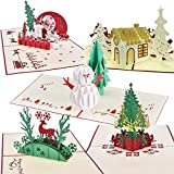 HOPESOOKY 3D Pop Up Christmas Cards 5 Assorted Xmas Handmade Designs Cute Greeting Cards-Pack of 5