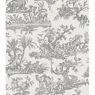 Amelia Toile De Jouy Wallpaper Charcoal Black 262987