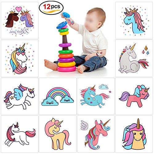 Konsait 12 STÜCKE Einhorn Sticker Tattoo Kindertattoos für Mädchen Kindergeburtstag Einhorn Party Mitgebsel (2 Zoll X 2 Zoll)