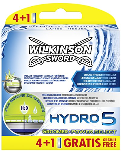 Wilkinson Sword Hydro 5 Groomer/Power Select lamette da barba, 4 pezzi + 1 lama gratuita