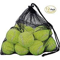OMORC Balles de Tennis avec Sac de Transport Mesh, Robuste et Durable réutilisable avec fermeture à corde Idéal pour Entrainement, Leçon, Machines à Lancer et Jouer avec Animaux de Comp