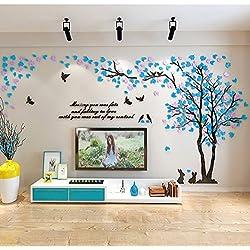 Alicemall Stickers Muraux 3D Autocollants en Acrylique Arbre avec des Feuilles Multicolores pour Décoration de la Maison (style 2(feuilles bleu clair et violet clair vers gauche))
