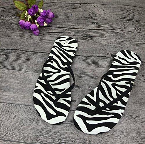 Multifunktionales Badezimmerzubehör Frauen Flip-Flops Sommer Zebra Muster Strand Flip-Flops Hausschuhe Sandalen (Farbe : Black, Größe : 39)