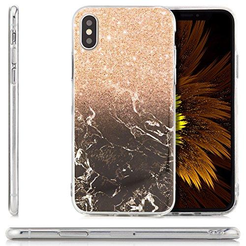 Custodia iPhone X Cover + Vetro Temperato Case Silicone Slim Copertura [zanasta] Custodia Sottile e Flessibile con Disegno Marmo-Sakura Marrone-Marrone Chiaro