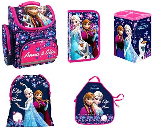 Disney Eiskönigin Frozen Schulranzen Mädchen 1 Klasse | Tornister Schulrucksack Schultasche | SET 6 teilig | für Grundschule | super leicht | inkl. Radiergummi von Maximustrade ZTE5KL22-MT