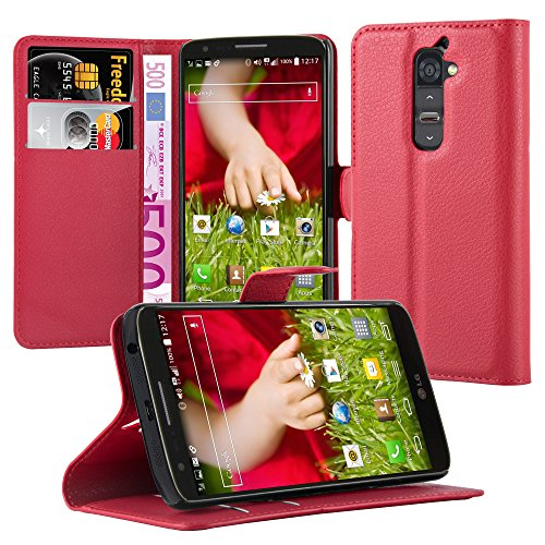 Cadorabo Hülle für LG G2 Hülle in Karmin Rot Handyhülle mit Kartenfach und Standfunktion Case Cover Schutzhülle Etui Tasche Book Klapp Style Karmin-Rot