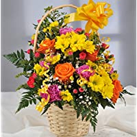 Bright Yellow Fresh Flower Gift Basket with Handwritten Card – Flowers Delivered Next Day UK FREE in a 1hr Delivery Time-Slot 7 Days a Week – Beautiful Front Facing Cut Flower Arrangement in Woven Wicker Basket