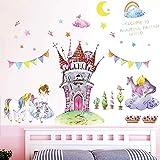 WandSticker4U® - XL aquarel muursticker prinses & slot I wandafbeeldingen: 105 x 90 cm I muursticker kinderkamer roze bloemen
