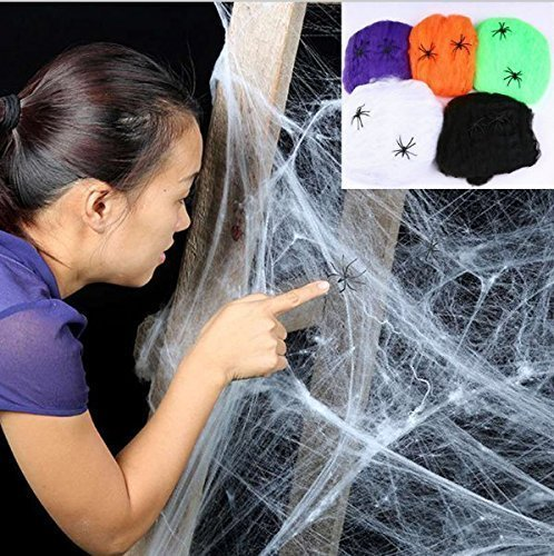 UChic 5 Farbe / pack Halloween Scary Party Szene Requisiten Weiß Stretchy Cobweb Spinnennetz Horror Halloween Dekoration Für Bar (Scary Halloween Szenen)