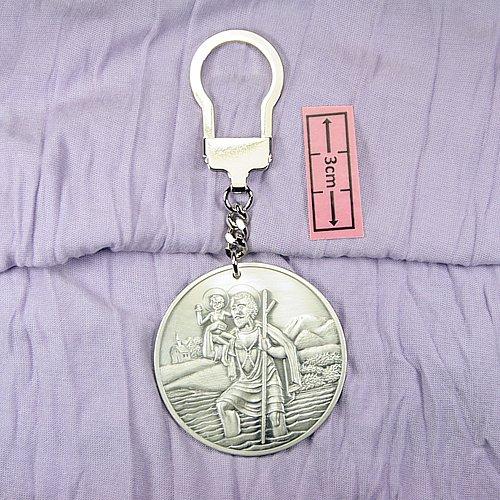 Preisvergleich Produktbild Hl. St. Christophorus Schlüsselanhänger 5 cm, versilbert (999-Feinsilber), gesegnet und geweiht