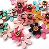 zhanyue Verzierung 24Gepolsterte Filz Blumen Applikationen mit Braun Button Strass Craft Jewelry Dekoration 2Schichten merhfarbig