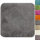 proheim Badematte in vielen Formen rutschfester Badvorleger Premium Badteppich 1200 g/m² weich & kuschelig Hochflor, Farbe:Grau, Produkt:WC Vorleger 50 x 50 cm