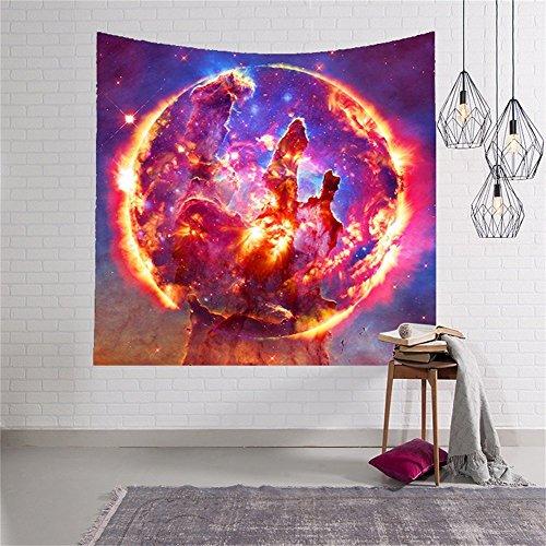 QEES Sterne Weltraum Wandteppich Wanddeko Wandbenhang Wandtuch Tischdecke mit Bild von Milchstraße Dekoration für Schlafzimmer Wohnzimmer usw.GT01 (Rot) (Wandteppiche Wandteppiche Rot)