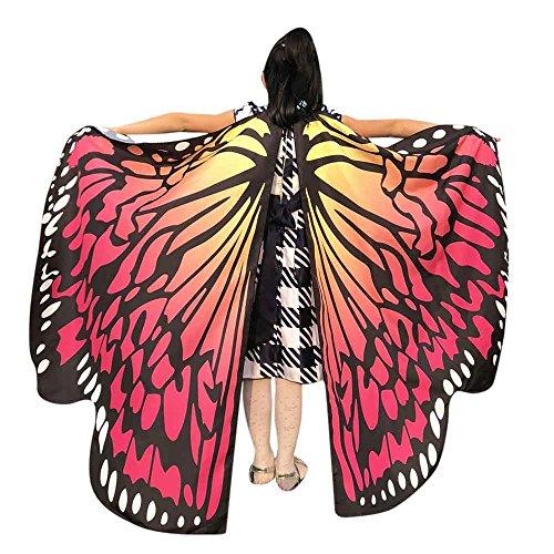 Faschingskostüme Schmetterling Schal Kinder Kostüm Schmetterlingsflügel Pixie Halloween Cosplay Schmetterlingsf Butterfly Wings Flügel LMMVP (Wassermelone Größe: 136 * - Wassermelone Kostüm Kind
