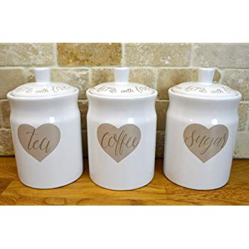 Set Of Three Glass Storage Kitchen Heart Jars With Lid Canisters Shabby Chic
