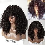 QD-Tizer Perruque de cheveux synthétiques bouclés style afro de couleur naturelle densité 180 avec base en soie pour femme 56cm