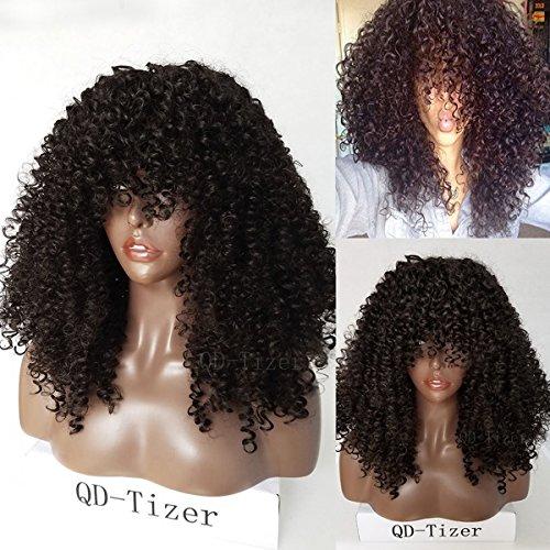 Top Seide Perücken (qd-tizer natürlichen Farbe Synthetischen Perücken 180Dichte lockiges Afro-Haar mit Seide Damen Top für Beauty 55,9cm)