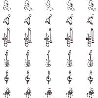 PandaHall Elite 30pcs/5 sets 6 Stili Ciondoli charms pendanti in Lega a Tema Strumenti Musicali per braccialetti collane…