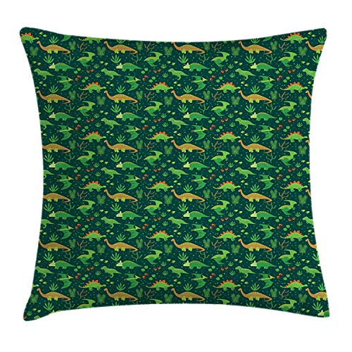 w Cushion Cover, Prehistoric Jungle Cartoon Pattern with Various Dino Characters Green Dots Leaves, Decorative Square Accent Pillow Case, 18 X 18 Inches, Multicolor ()