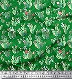Soimoi Grun Baumwolle Ente Stoff Blumen & Kaktus Baum