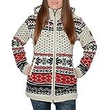 38175922fb1a Kunst und Magie Klassische Damen Strickjacke Wolle Jacke mit Fleecefutter  und Kapuze, Größe XS, Farbe Rot Schwarz   Beige