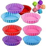 mengger 14 Piezas Molde para Tartaletas Silicona Tartas Mini Quiche 11cm Antiadherentes Redondos Pequeños Moldes Bordes Bizco