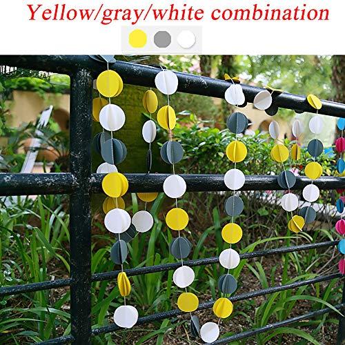 Neue Product4M Diy Papiergirlande Hochzeitsdekoration Weihnachten Kreative Bunte HäNgende Papier Vorhang Girlanden String Runde/Herz,yellow/grey/whitecombination