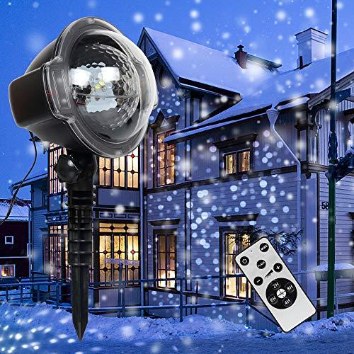 ANKOUJA LED Projektor Weihnachtsbeleuchtung Christmas Lights Decorations Außen Weihnachtsprojektor Projektorlampe Schneefall-Lichteffekt Timer mit Fernbedienung IP65 für Weihnachten