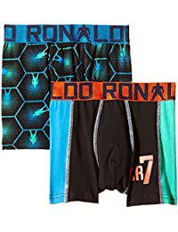 CR7 Cristiano Ronaldo Boys' Tight-Fit Boxers Boys Line Trunks Pack of 2