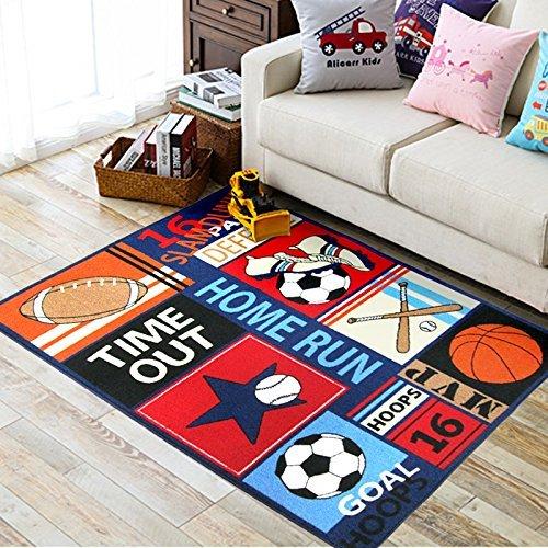 Fun Sport Kinder Teppiche Nylon Teppich Fußball Baseball Fußball Basketball mit Mehrfarbig für junge Mädchen Spielzimmer, blau