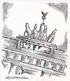 Original Kreidezeichnung auf Zeichenkarton: Berlin Brandenburger Tor / 21x24 cm