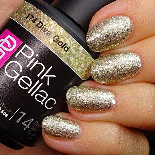 Vernis à ongles Pink Gellac 174 Diva Gold. 15 ml gel Manucure et Nail Art pour UV LED lampe, top coat résistant shellac