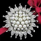 Serired Broches Exquis Écharpe de Mode Perles en Alliage Soleil Filigrane Fermoir Strass Cadeau de Vacances