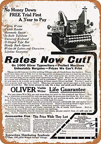 Oliver Typewriters Blechschilder Vintage Metall Poster Retro Schild Original Blechschild Plakette Poster Zum Bar Cafe Garage Tankstelle Zuhause Verein