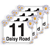 Daisy Flower, Set of 4 x A5 Personalised Wheelie Bin Stickers/Vinyl Labels with House Number & Street Name - [A5] 21cm x…