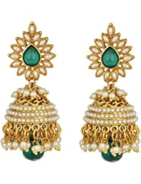 Fashion Jewels Exclusive Green Golden White Party Wear/Daily Wear/Casual/Wedding Pearl Jhumka/Jhumki Earrings...