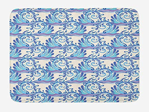 JIEKEIO Aqua Bath Mat, Abstract Swirled Blue Wave with Sparks and Drops Artistic Ornamental Seascape, Plush Bathroom Decor Mat with Non Slip Backing, 23.6 W X 15.7 W Inches, Violet Beige Blue -